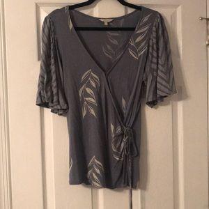 v neck, wrap blouse